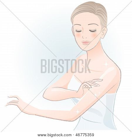 Young Spa Woman Gently Touching Arms