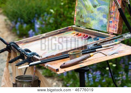 Palette And Easel of Artist