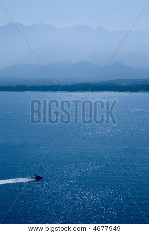 Motorboat Near Corsica Seashore