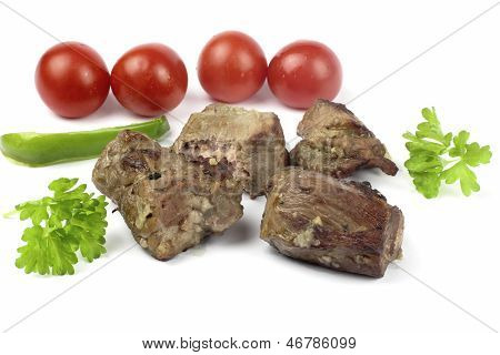 Close up of shashlik on the white background