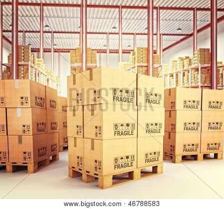3d image of pallets with classic boxes in warehouse