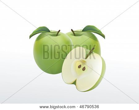 Two green apple with leaf