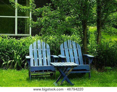 Pair of Blue Adirondack Chairs