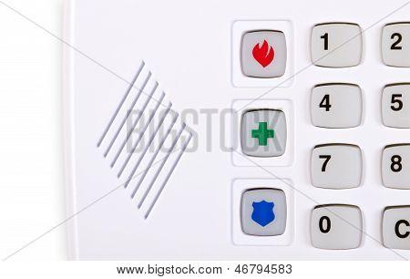 Closeup of home security alarm keypad