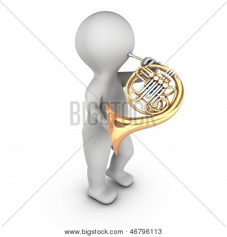 A 3D character playing french horn (corniste)