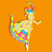 illustration of Indian classical dancer performing bharatnatyam poster