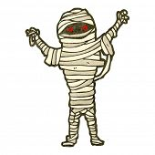 retro cartoon halloween mummy
