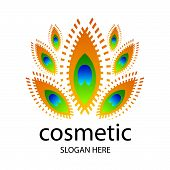vector creative design for cosmetics in the form of a peacock feather poster