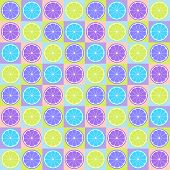 Colorful seamless retro pattern with citrus theme poster