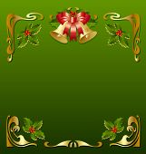 Golden Christmas vintage frame in secession style poster