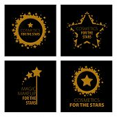 Collection of vector icons of design magic makeup for the stars poster