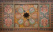 Wooden ceiling oriental ornaments from Khiva Uzbekistan poster