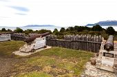 Wooden structures at the southernmost fort on the south american continent in chile poster
