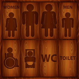 Wood Toilet Sign Men and Women WC plate