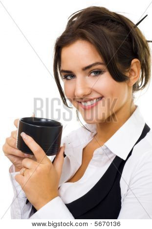 Woman With Cup Of Coffe