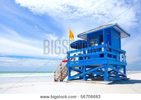Siesta Key Beach Florida USA colorful lifeguard house