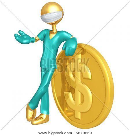 Personagens 3D do médico com moeda de ouro