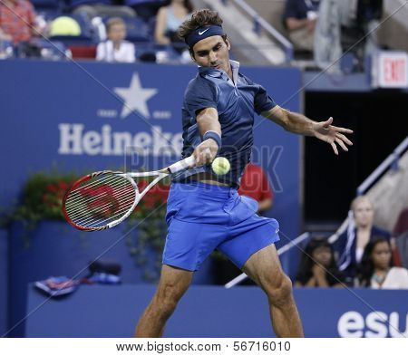 Seventeen times Grand Slam champion Roger Federer during third round match at US Open 2013