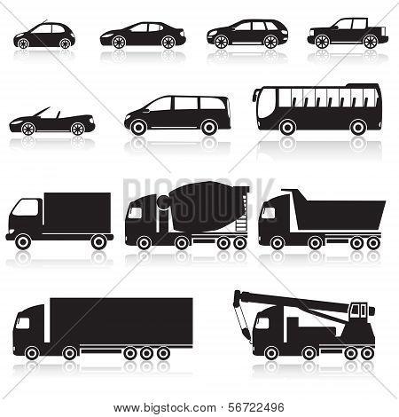 Icon car: cabriolet, hopper, bus, minivan
