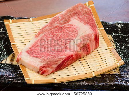 Close up Freshness Marbled on Japanese Kobe Matsusaka Beef for BBQ On The Plate in Restaurant King of Beef poster