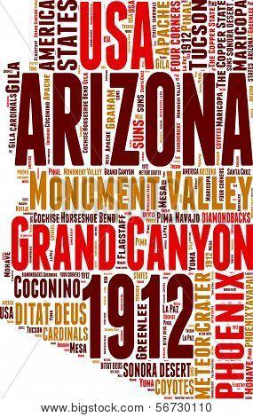 Arizona USA state map vector tag cloud illustration poster