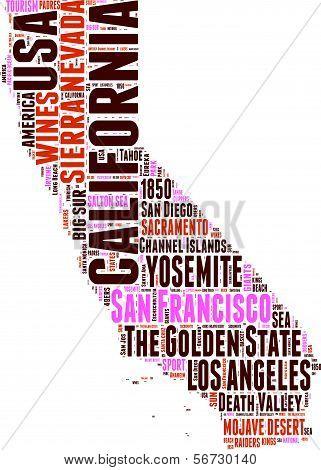 California map tag cloud