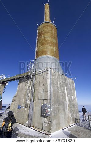 view of the lightning rod located at the top of the Mount Aguille du Midi, Mont Blanc massif, Alps, Chamonix, France