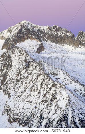 Mountain sunset in Aneto Peak, 3404 m., Posets Maladeta Natural Park, Huesca, Aragon, Pyrenees, Spain poster