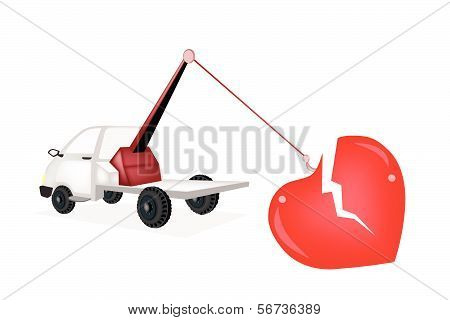 Wrecker Tow Truck Pulling A Red Broken Heart