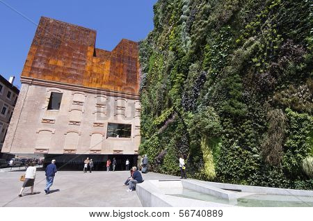 MADRID, SPAIN - JUNE 7: Caixa Forum on June 7, 2008 in Madrid: entrance to the Caixa Forum building. The facade is the work of plant botanist Patrick Blanc.