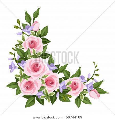 Pink roses corner. Vector illustration.