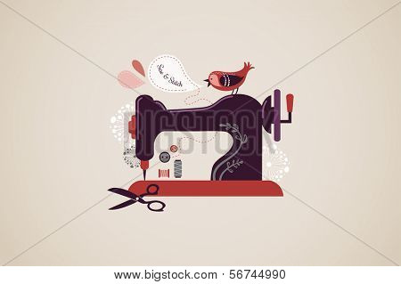 Vintage sewing machine background with bird and flowers