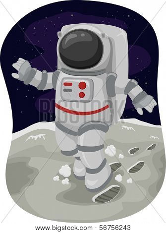 Illustration of an Astronaut Doing a Moonwalk in Space