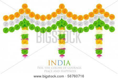 illustration of tri color flower arrangement for India festival decoration