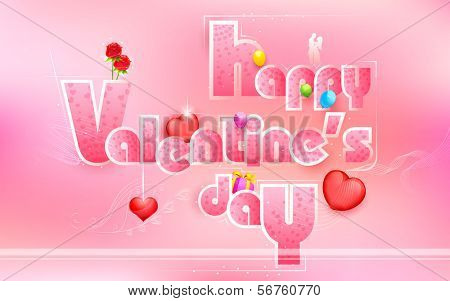 illustration of Happy Valentine's Day card with love element
