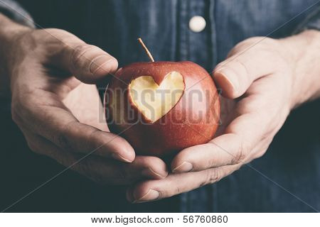 Valentine Day concept with apple