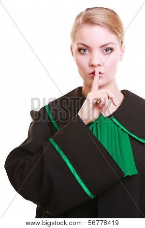Woman Lawyer Attorney Wearing Classic Polish Gown Asking For Silence