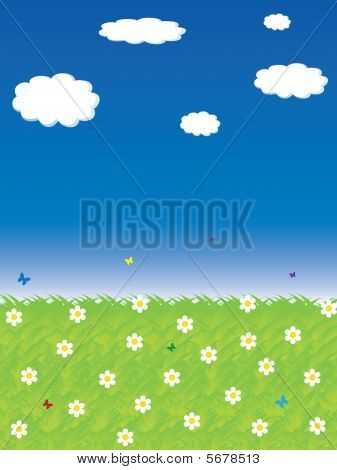 poster of Beautiful summer background with butterflies and flowers