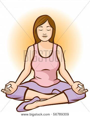 Woman Meditating (Aura Background)