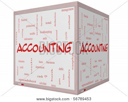 Accounting Word Cloud Concept On A Cube Whiteboard