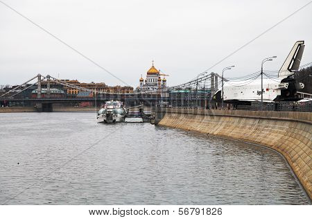 Pushkinskaya (pushkin) Embankment Of Moscow River