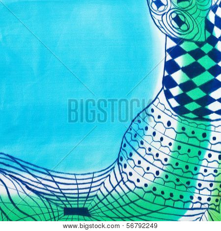 abstract blue drawing geometric pattern of painted silk batik on handmade scarf poster