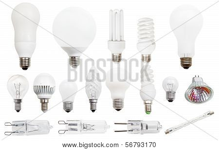 set of incandescent compact fluorescent halogen LED light bulbs isolated on white background poster