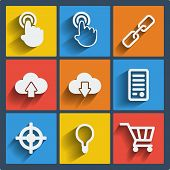 Set of 9 vector seo web and mobile icons in flat design. poster