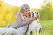 Senior woman hugs her beagle dog in countryside poster