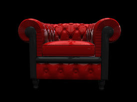 Red Leather Armchair Front View