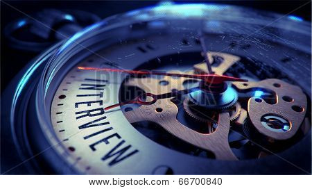 Interview on Pocket Watch Face. Time Concept.