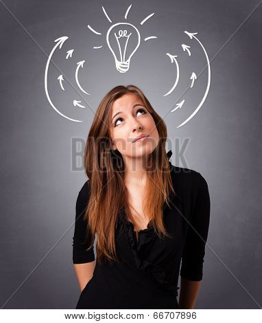 Pretty young lady standing and thinking with arrows and light bulb overhead poster