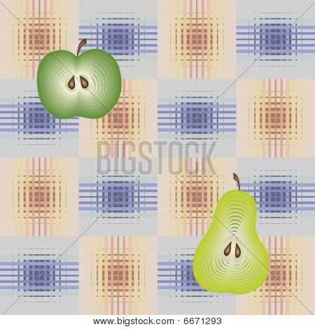 poster of Checked seamless pattern with apples and pears
