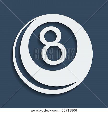 Stylized Vector Icon Of Billiard 8-ball